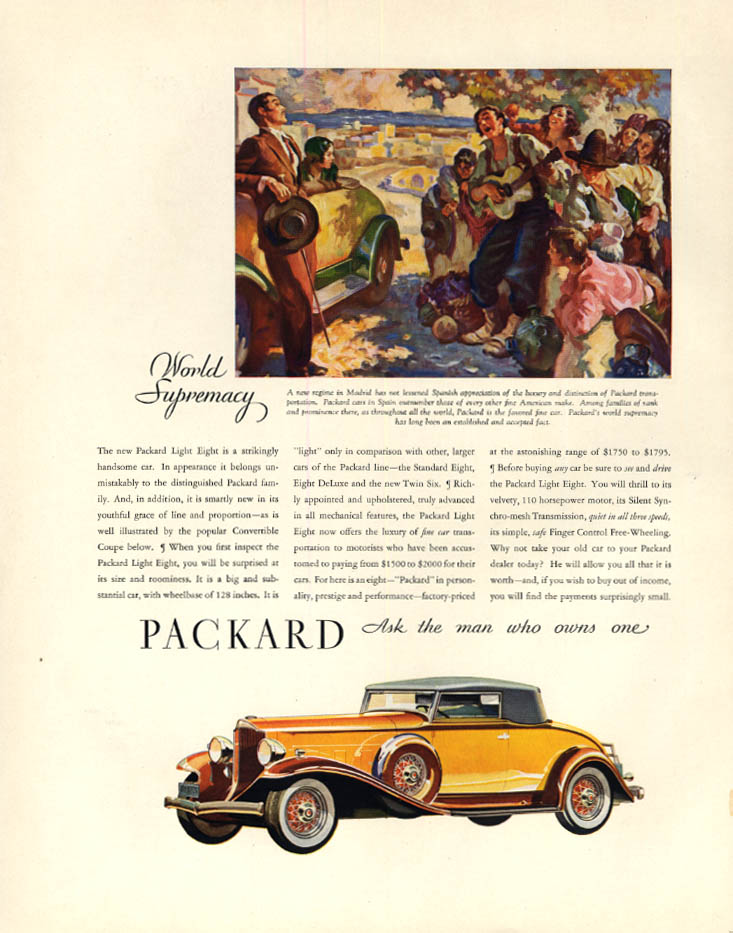 A strkingly handsome car: Packard Light Eight Coupe ad 1932 F