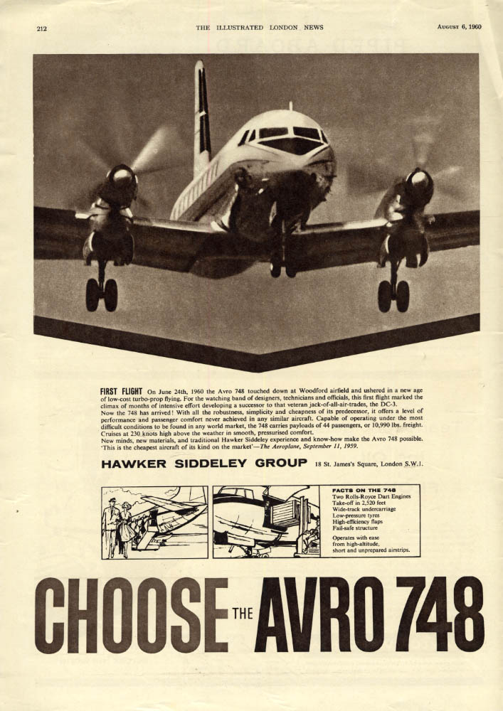 Image for First Flight: Hawker Siddeley Avro 748 Airliner ad 1960 ILN
