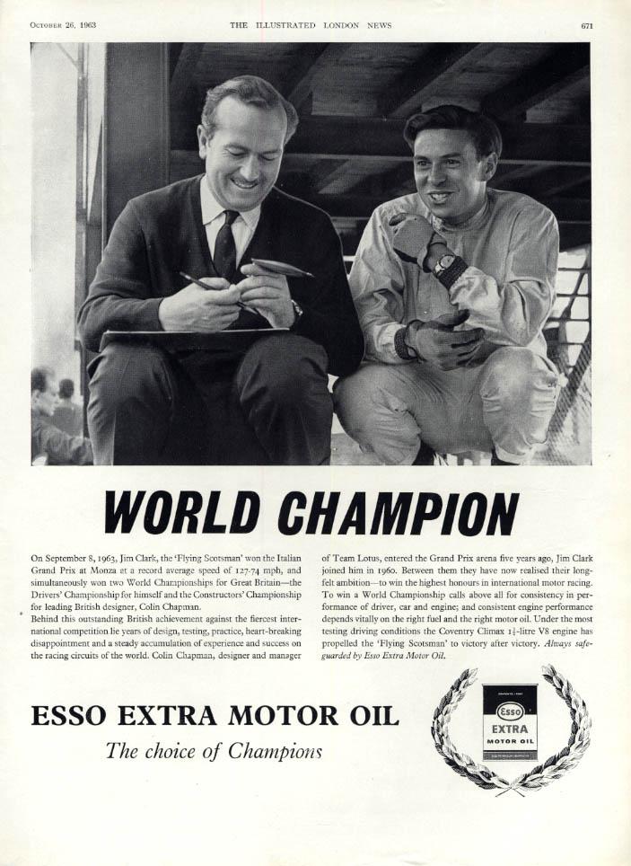 Image for World Champion Formula One Driver Jim Clark Esso Extra Moor Oil ad #1 1963 ILN