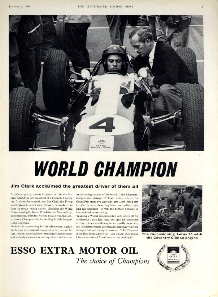 Image for World Champion Formula One Driver Jim Clark Esso Extra Moor Oil ad #2 1963 ILN