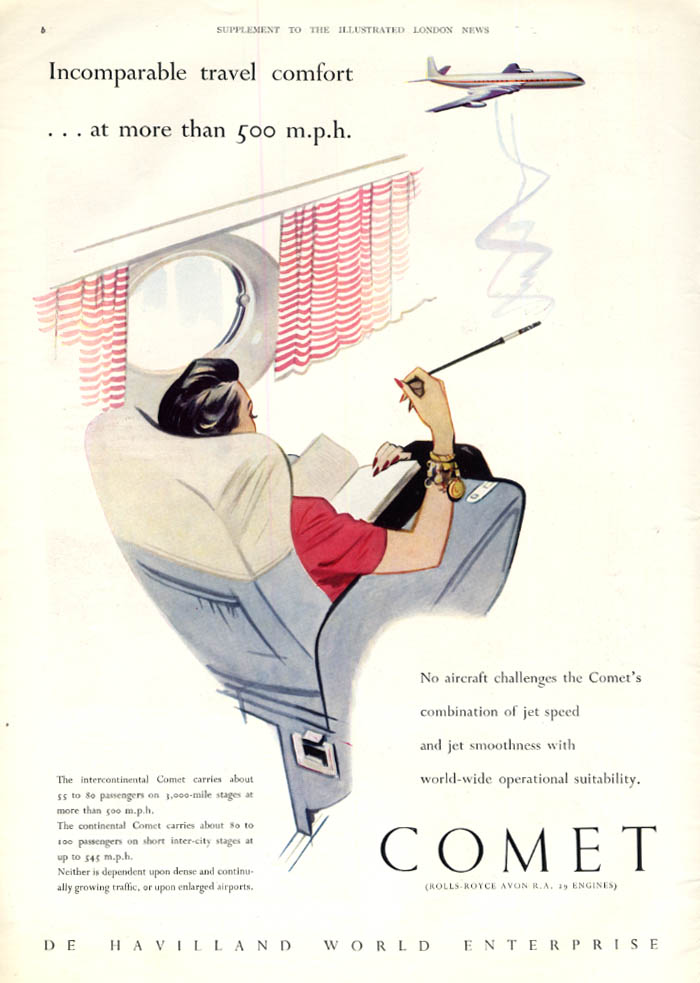 Image for Incomparable travel comfort at more than 500mph: De Havilland Comet ad 1950s