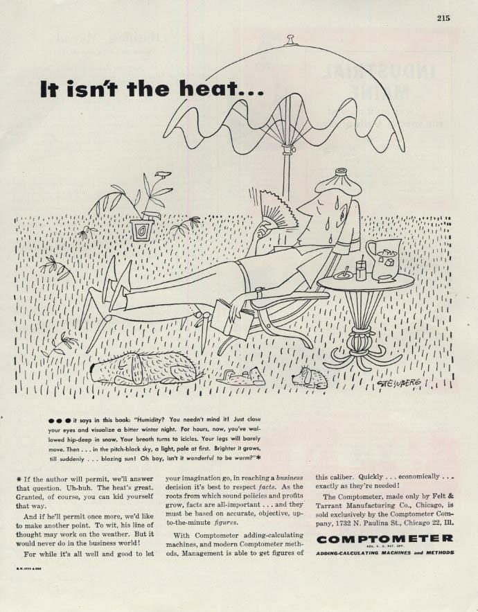 Image for It isn't the heat - Comptometer Adding Machines ad 1945 Saul Steinberg art F