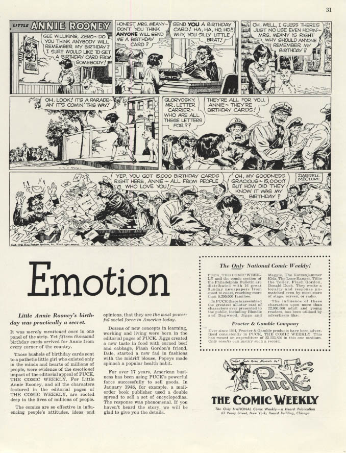 Image for Emotion: Little Annie Rooney Puck Comic Weekly ad 1948 F