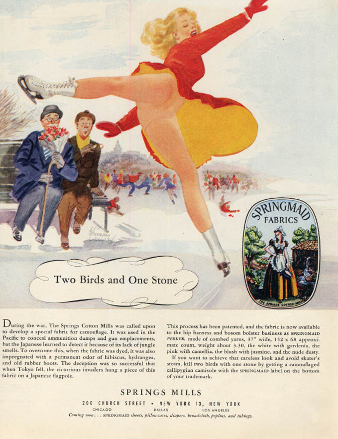 Image for Two Birds & One Stone Springs Mills ad ice skater showing panties 1948 F