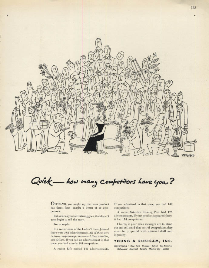 Image for Quick - how many competitors have you? Young & Rubicam ad 1947 Saul Steinberg F