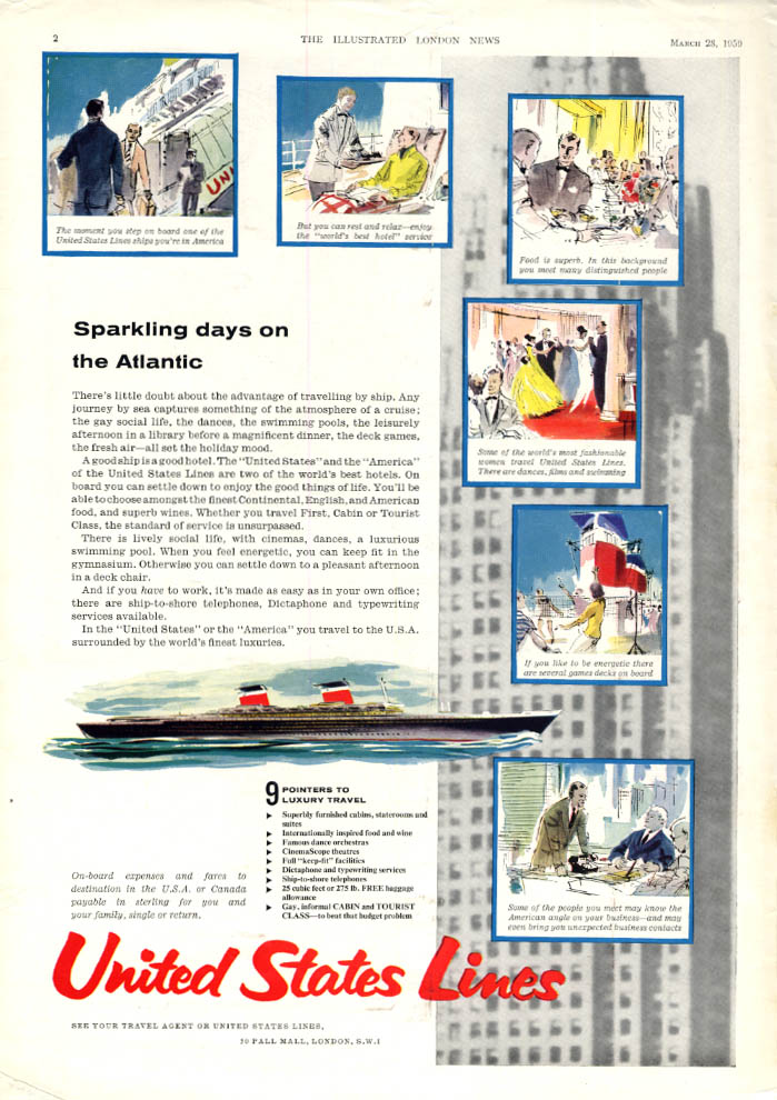Image for Sparkling days on the Atlantic United States Lines S S United States ad 1959 ILN
