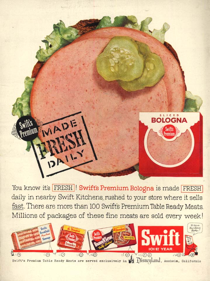 Image for Swift's Premium Bologna Made Fresh Daily ad 1956 L
