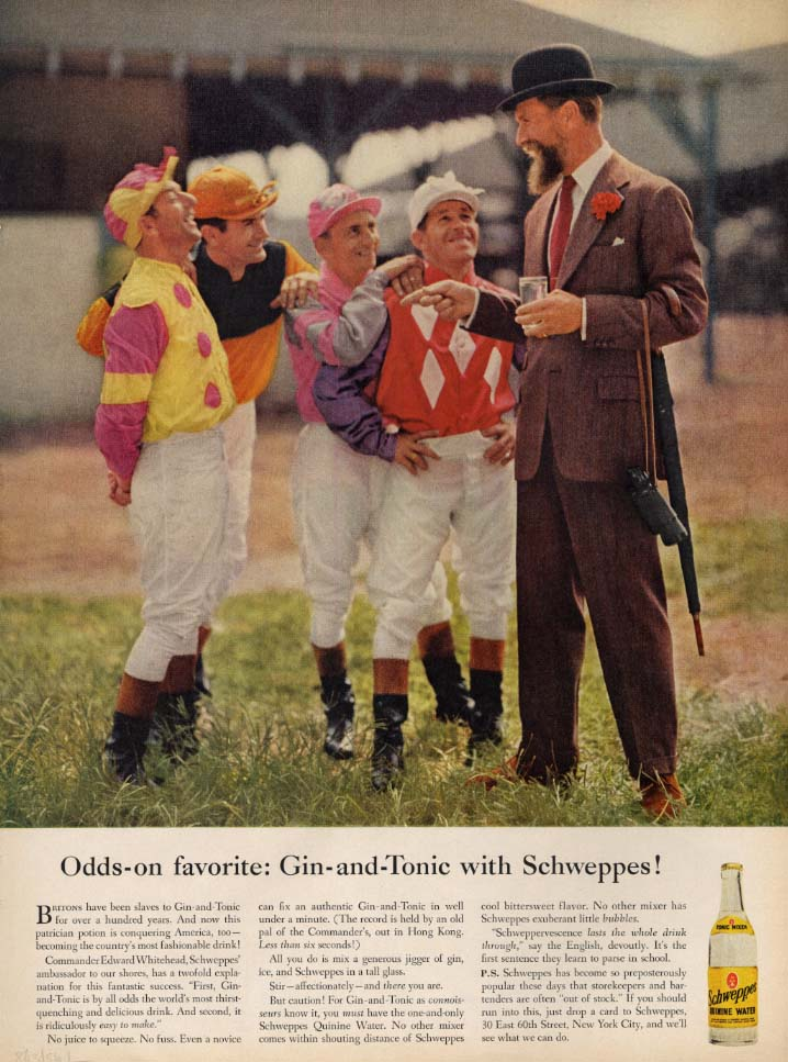 Image for Odds-on favorite: Gin-and-Tonic with Schweppes ad 1956 Commander Whitehead L