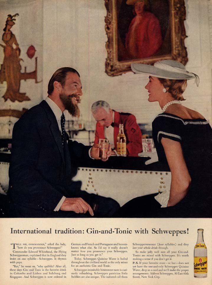 Image for International Tradition Gin-and-Tonic with Schweppes ad 1956 Commander Whitehead