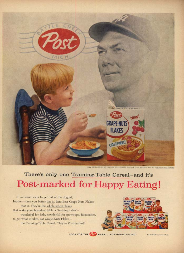 Image for New York Yankees Bill Dickey for Post Grape-Nuts Flakes cereal ad 1956 L