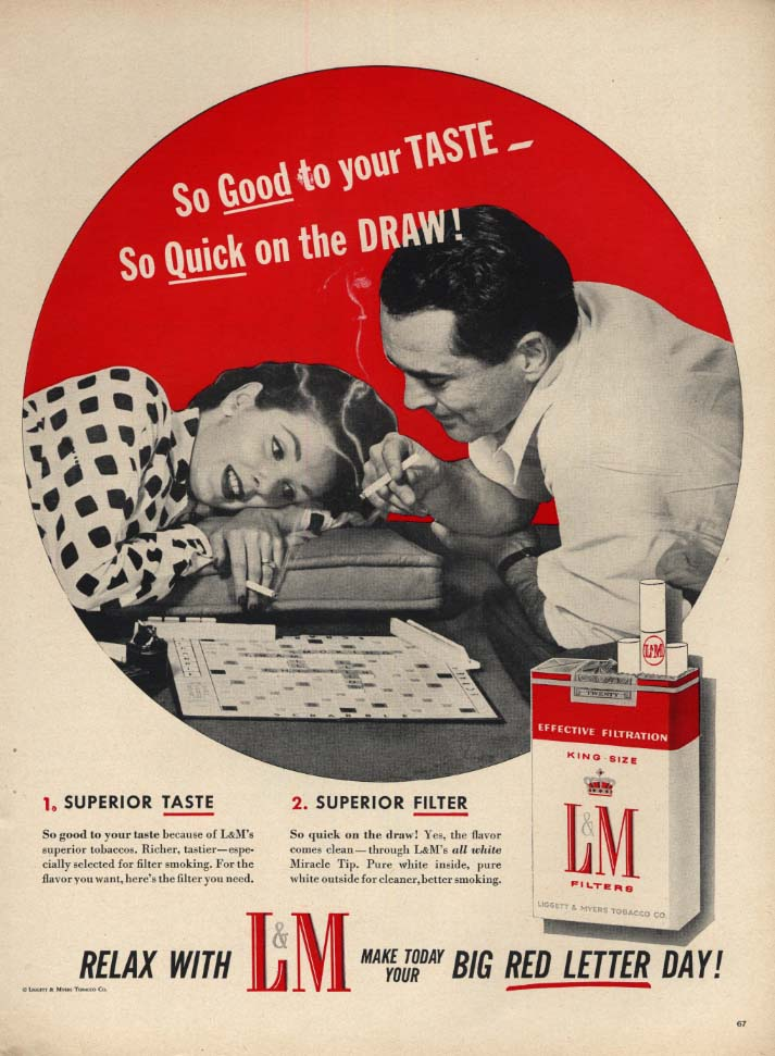 Image for Good to your taste Quick on the draw L&M Cigarettes ad 1956 Scrabble game L