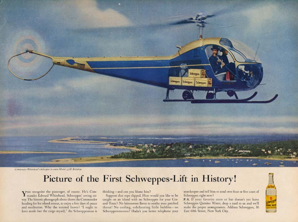 Image for Picture of the 1st Schweppes-Lift in History Bellairus 47H Helicopter ad 1956 L