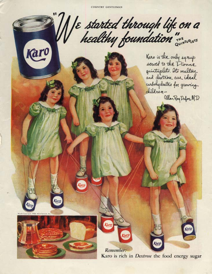 Image for We started through life on a healthy foundation Dionne Quints Karo ad 1938 CG