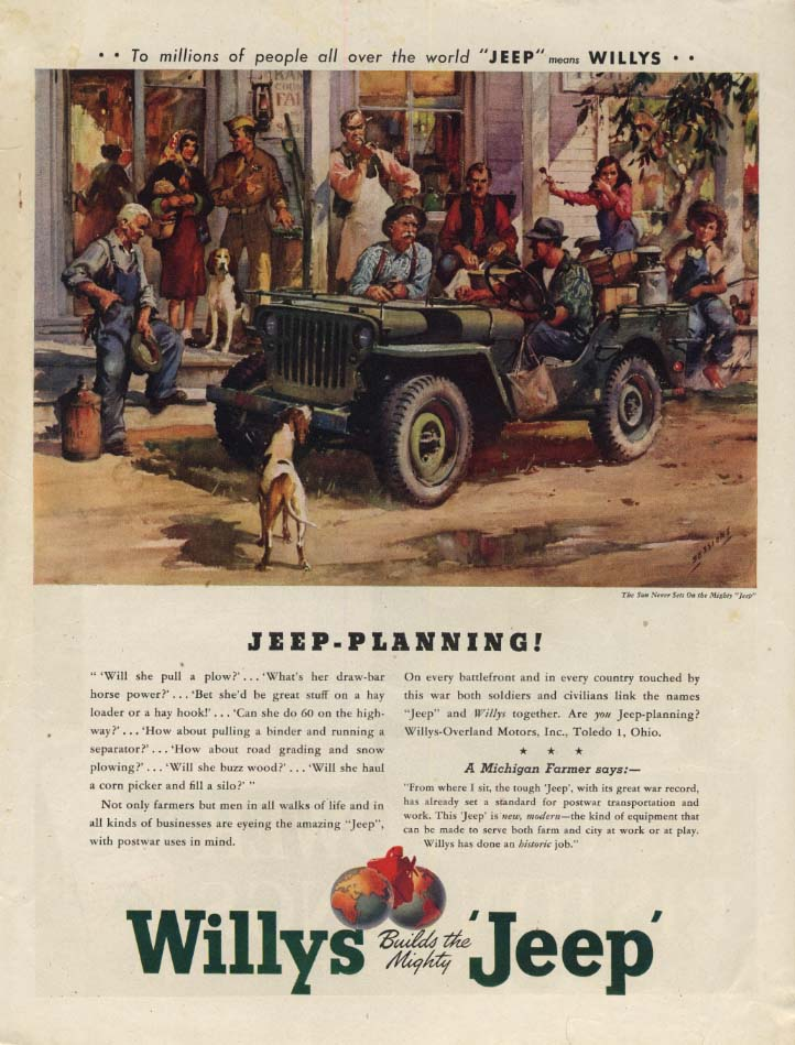 Image for Jeep-Planning! Will she pull a plow? Willys Jeep ad 1945 CG