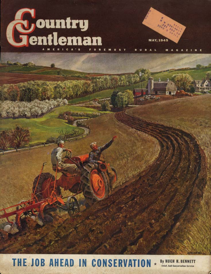 COUNTRY GENTLEMAN COVER 5 1945 Sailor drives tractor on family farm by Helck