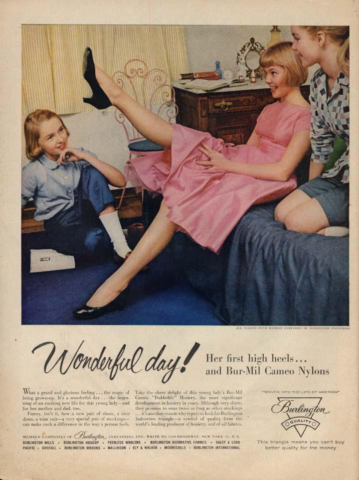 Image for Wonderful day! Teenage blonde's 1st high heels & Bur-Mil Cameo Hosiery ad 1956 L