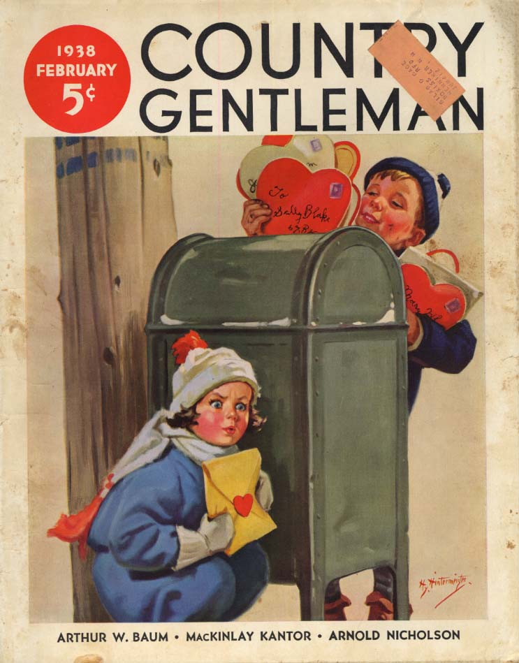 Image for COUNTRY GENTLEMAN COVER 2 1938 Kids Valentine dilemma by Hintermeister