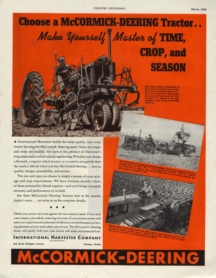 Image for Choose an International Harvester McCormick-Deering Tractor ad 1938 CG