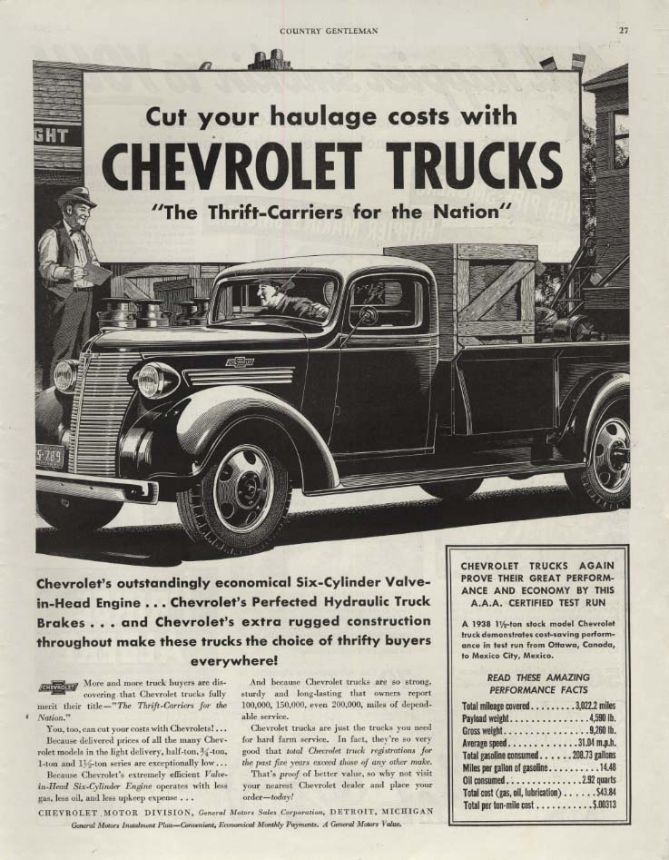 Image for Cut your haulage costs with Chevrolet Pickup Truck ad 1938 CG