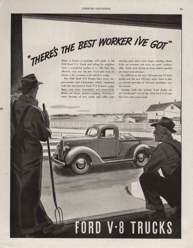 Image for There's the best worker I;ve got! Ford Pickup Truck ad 1938 CG