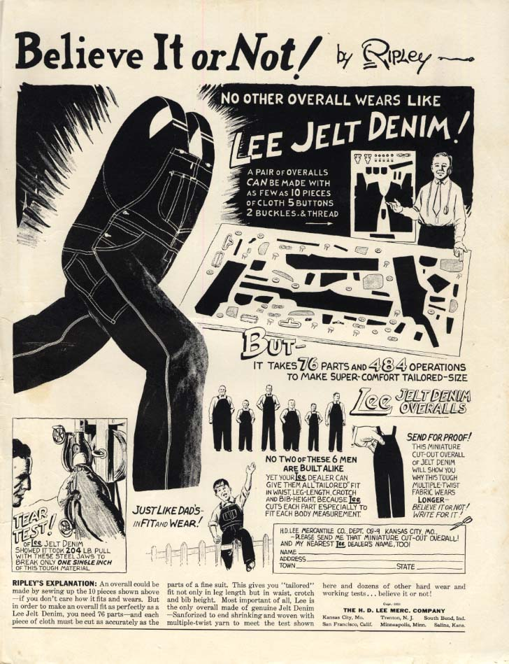 Image for Ripley's Believe It of Not! Lee Jelt Denim Overalls ad 1938 CG