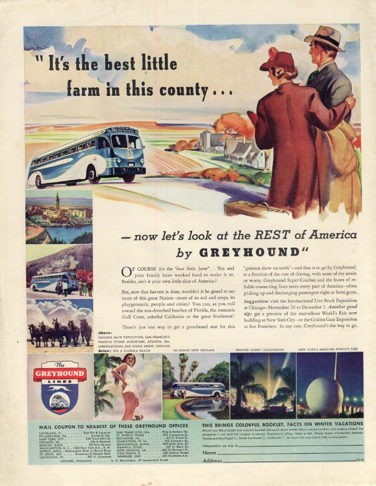 It's the best little farm in the county! Greyhound Bus ad 1938 CG
