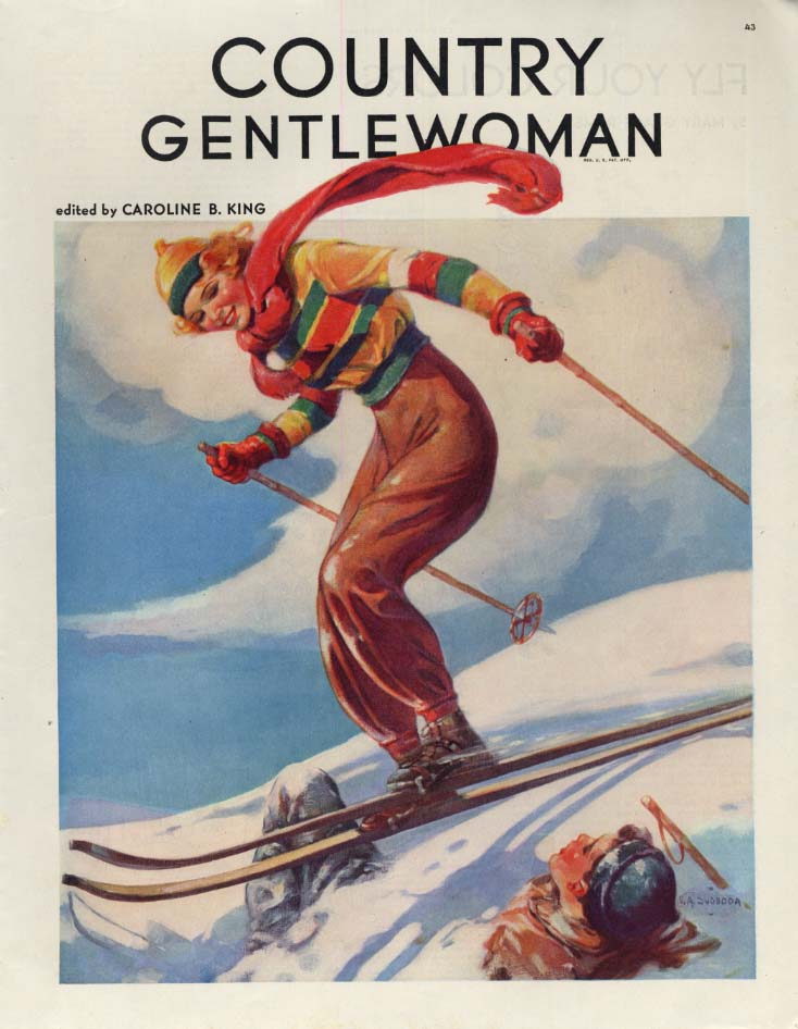 COUNTRY GENTLEWOMAN section page young blode skier by V A Svoboda 1938