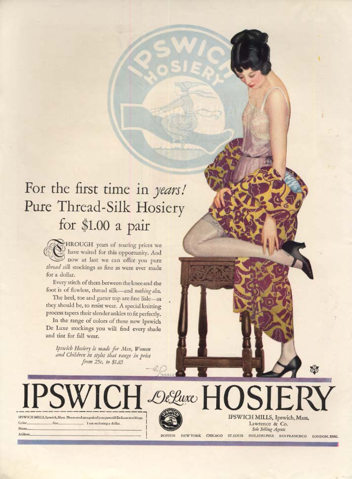 Image for Pure Thread-Silk Hosiery for $1.00 a pair! Ipswich Hosiery ad 1924 The Reeses ar