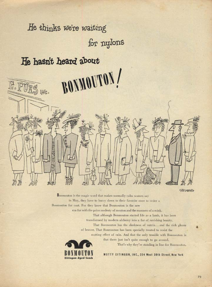 Image for He thinks we're waiting for nylons! Bonmouton Lamb Fur Coats ad 1946 Steinberg