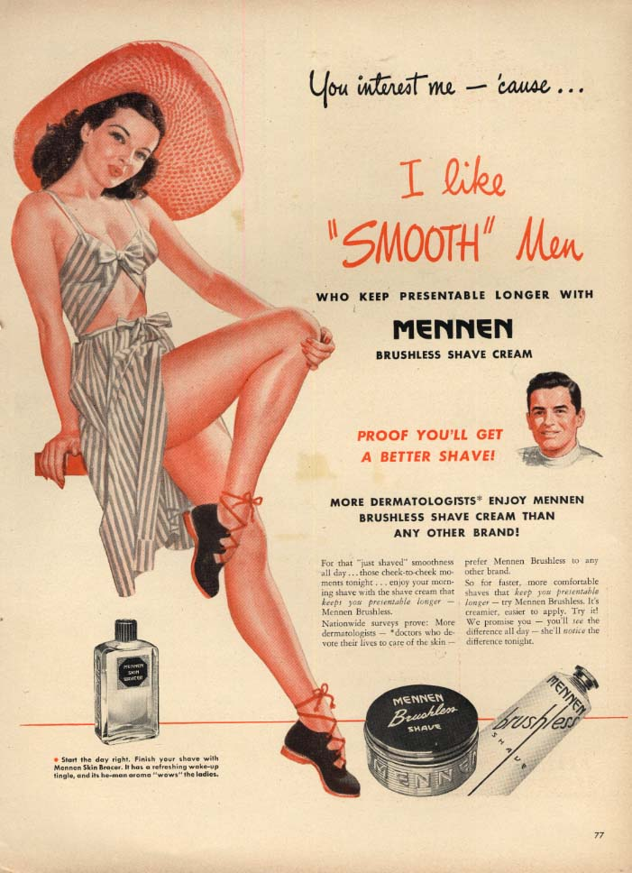 I like SMOOTH men! Mennen Shaving Cream ad 1946 Mingo pin-up L