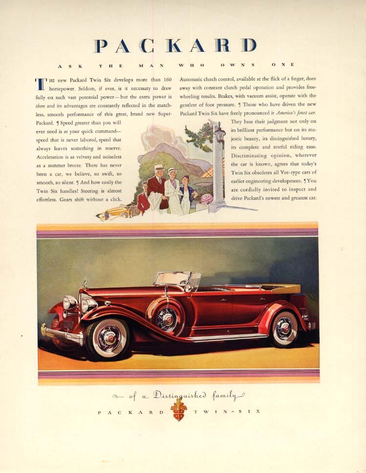 Packard Twin Six Convertible / Italian Line S S Conte di Savoia & Rex ad 1932 F