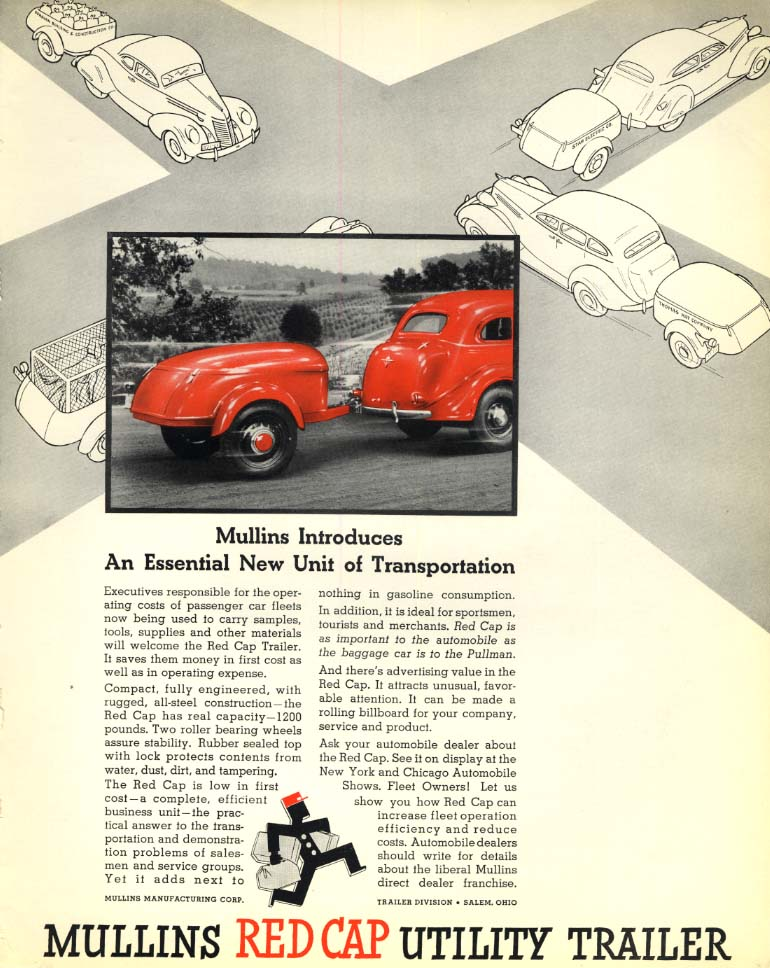 Image for Essential New Unit of Transportation: Mullins Red Cap Utility Trailer ad 1936 F