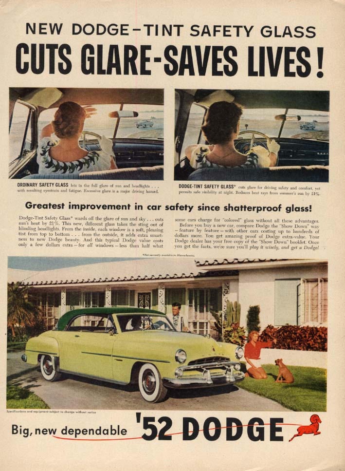 Image for Tint Safety Glass Cuts Glare -Saves Lives! Dodge Hardtop ad 1952 L