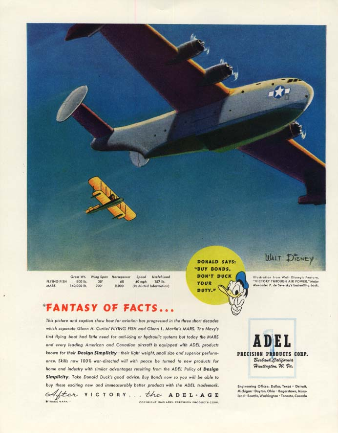Image for Martin Mars: Disney's Victory Through Air Power: Adel ad 1944 Donald Duck F