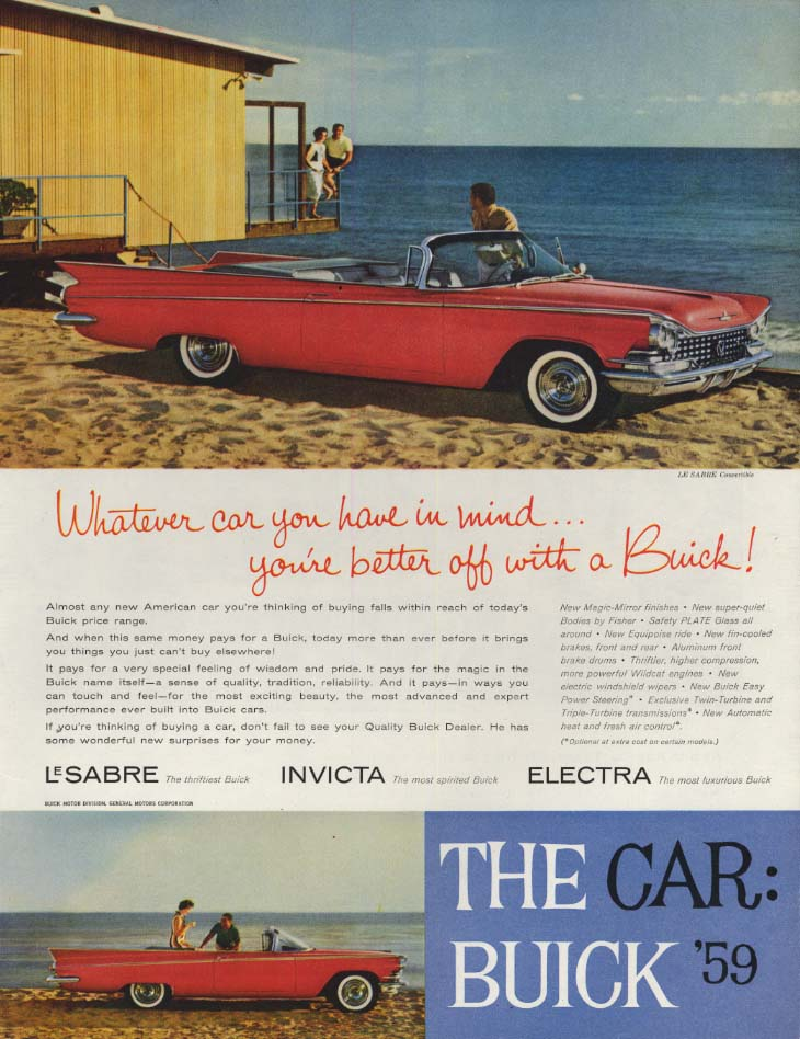 Image for Whatever car you have in mind you're better off: Buick Convertible ad 1959 SEP