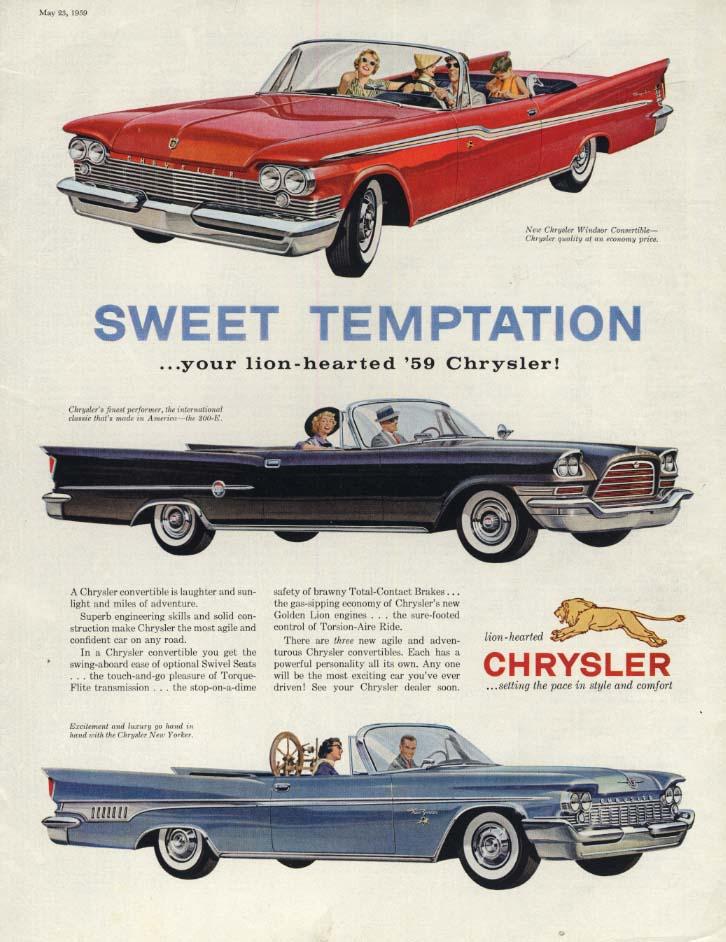 Image for Sweet Temptation: Chrysler Windsor 300-E New Yorker Convertible ad 1959 P