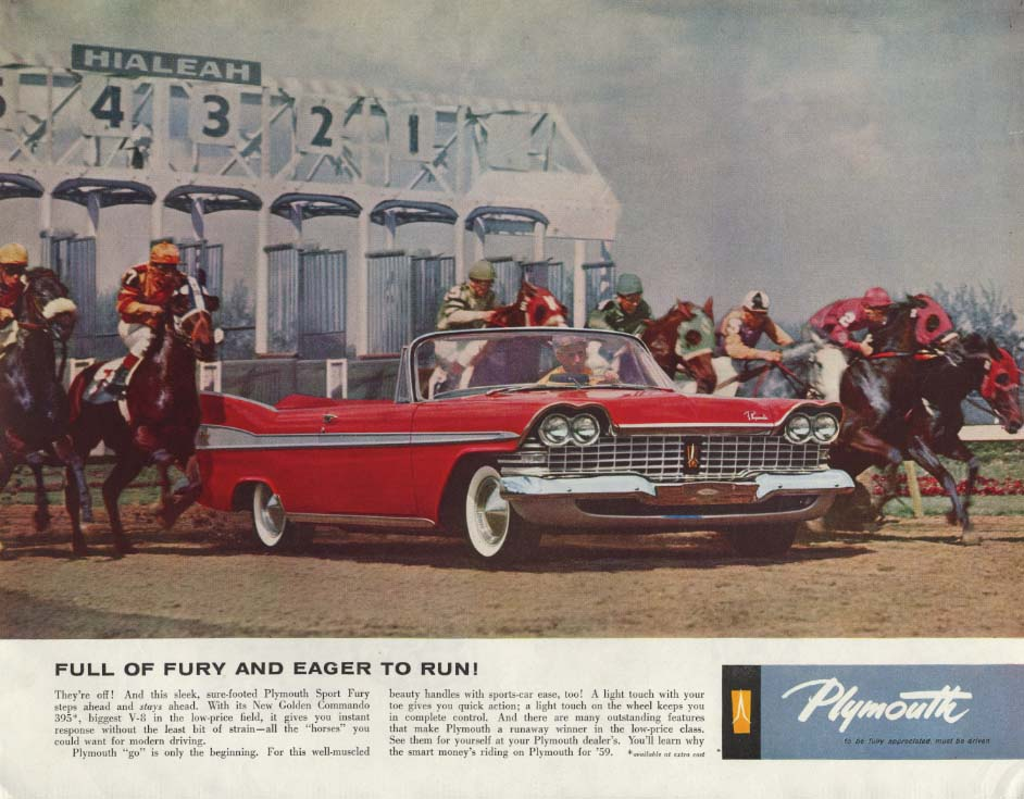 Image for Full of Fury & Eager to Run! Plymouth Sport Fury Convertible ad 1959 SEP