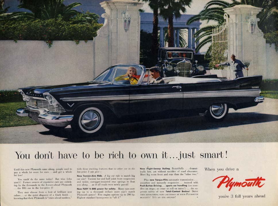 Image for You don't have to be rich to own it Plymouth Belvedere Convertible aad 1957 L