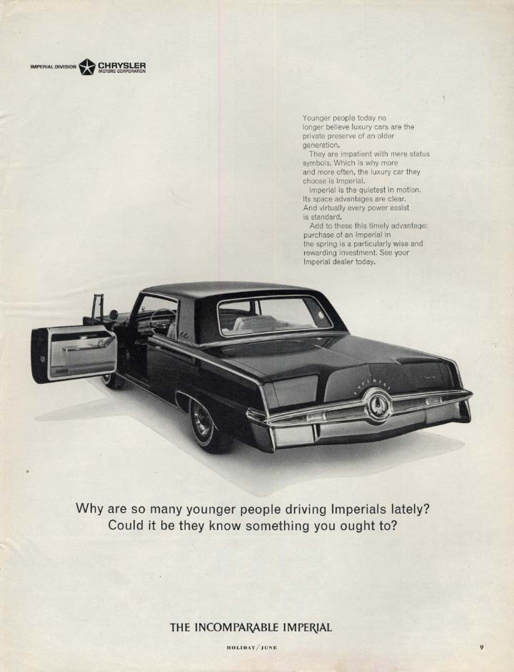 Image for Wht are so many younger people driving Imperial by Chrysler? Ad 1965 H