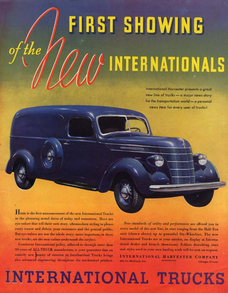 Image for First Showing of the New International Panel Truck ad 1937 L