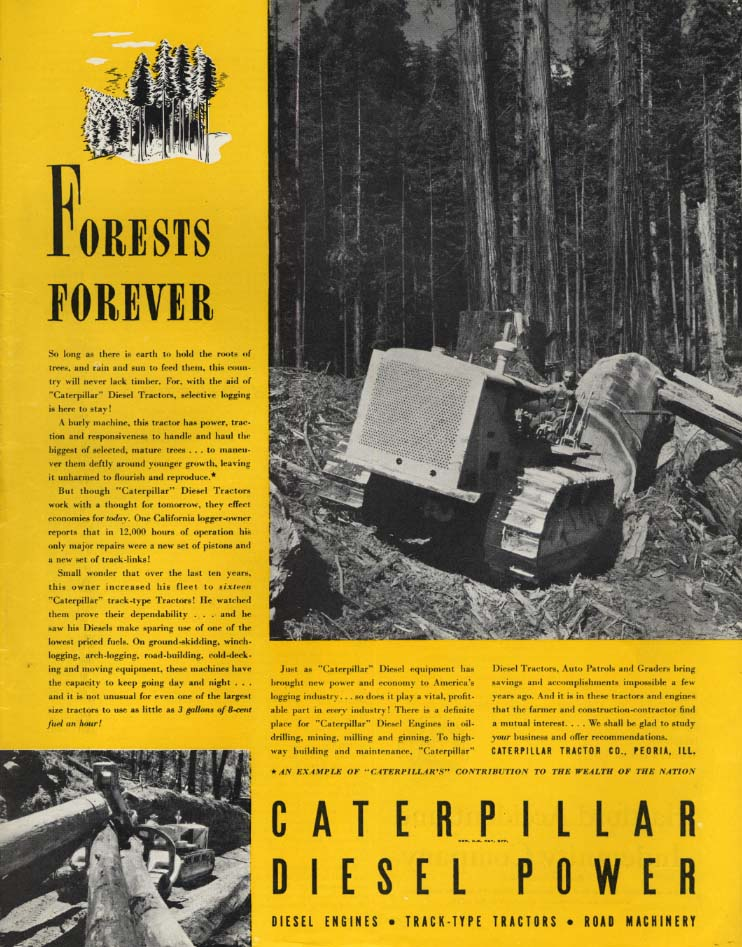 Image for Forests Forever - Caterpillar Diesel Tractor ad 1938 SEP