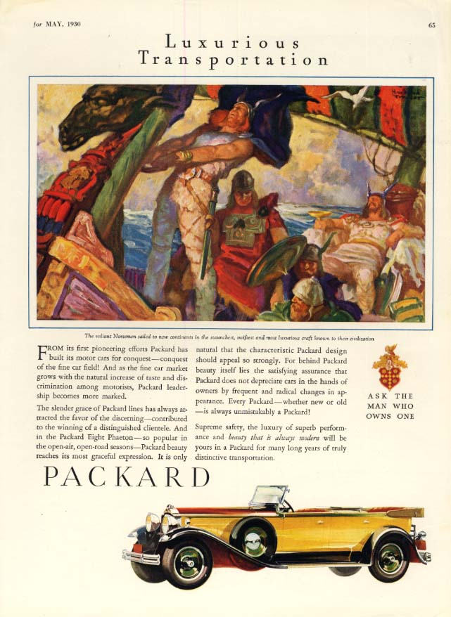 From it first pioneering efforts - Packard Convertible Sedan ad 1930 SPT
