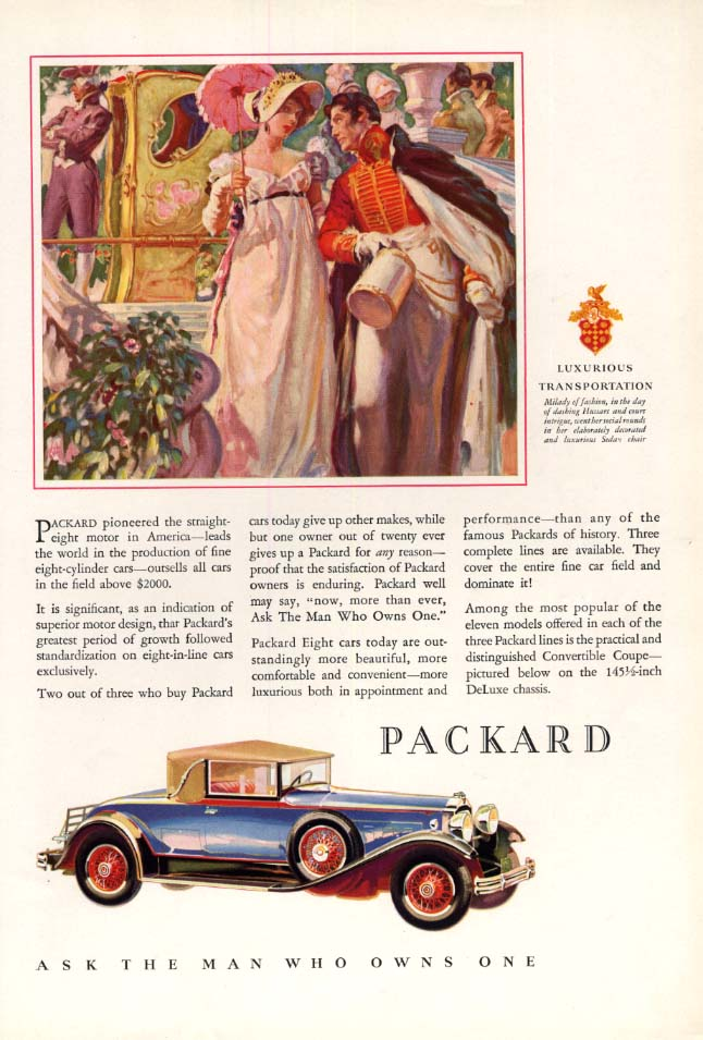Image for Pioneered the straight-eight motor Packard Convertible Coupe ad 1930 A&D