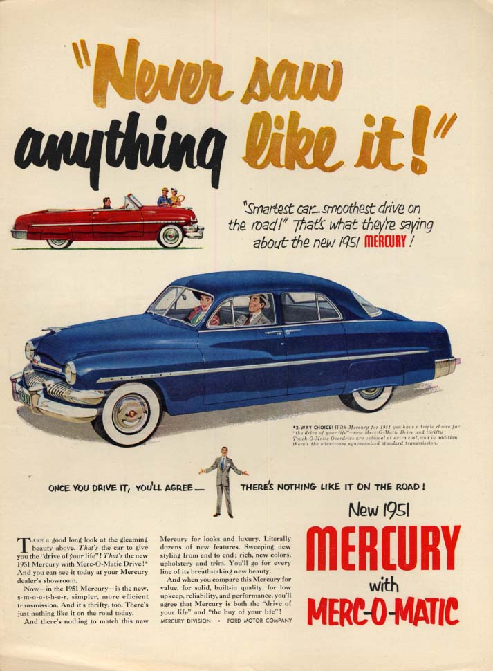 Image for Never saw anything like it! Mercury Sedan & Convertible ad 1951 L