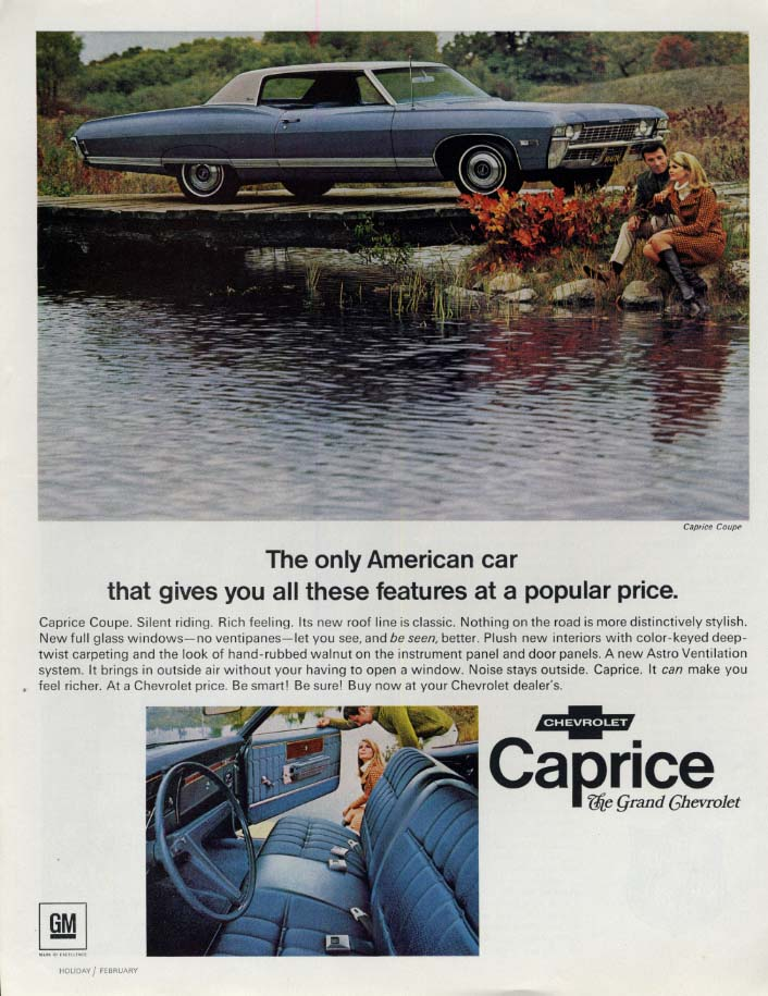 Image for The only car with these features at a popular price Chevrolet Caprice ad 1968 H