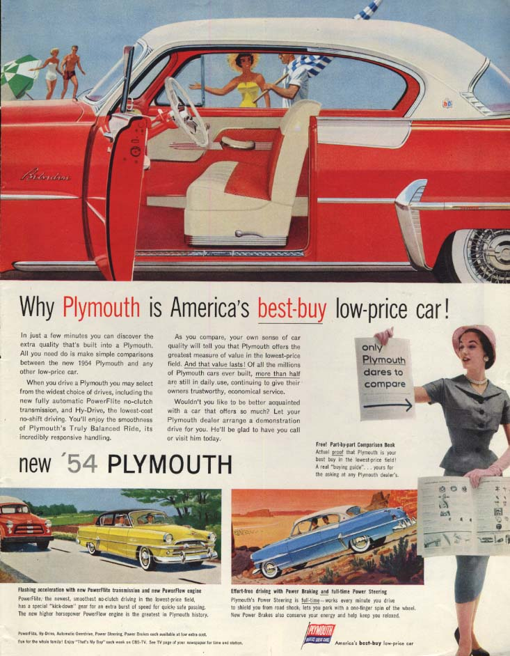 Image for Why Plymouth Belvedere is America's best-buy low-price car ad 1954 SEP