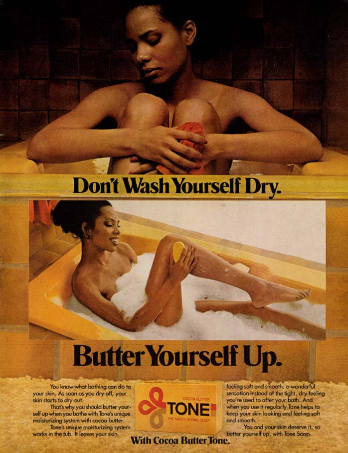 Image for Don't Wash Yourself Dry Butter Yourself Up Tone Soap ad 1979 black nude in tub