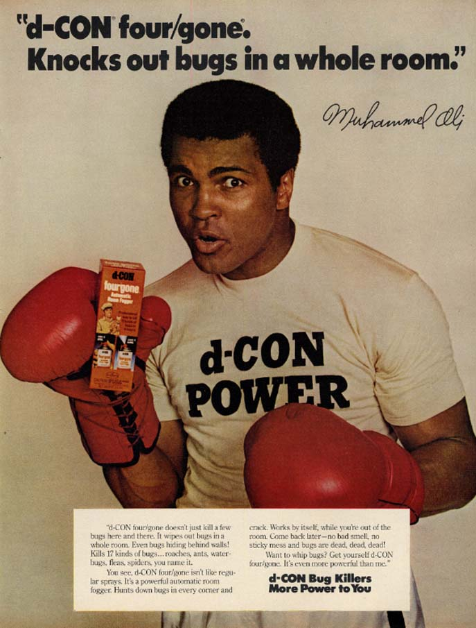 Image for Knocks out bugs in a whole room d-CON four/gone ad 1979 Muhammad Ali