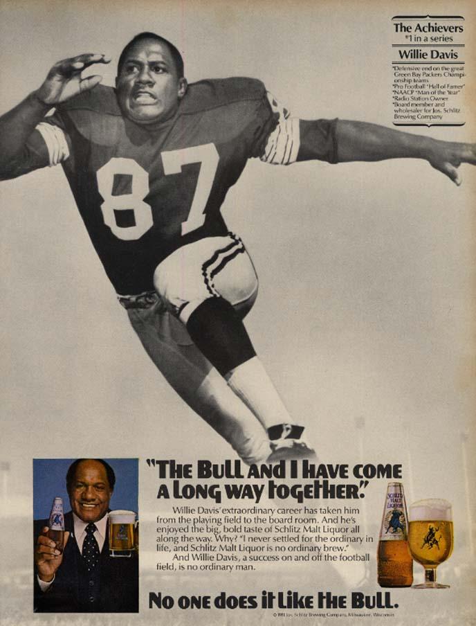 Image for Green Bat Packers Willie Davis for Schlitz Malt Liquor The Bull ad 1981 EB
