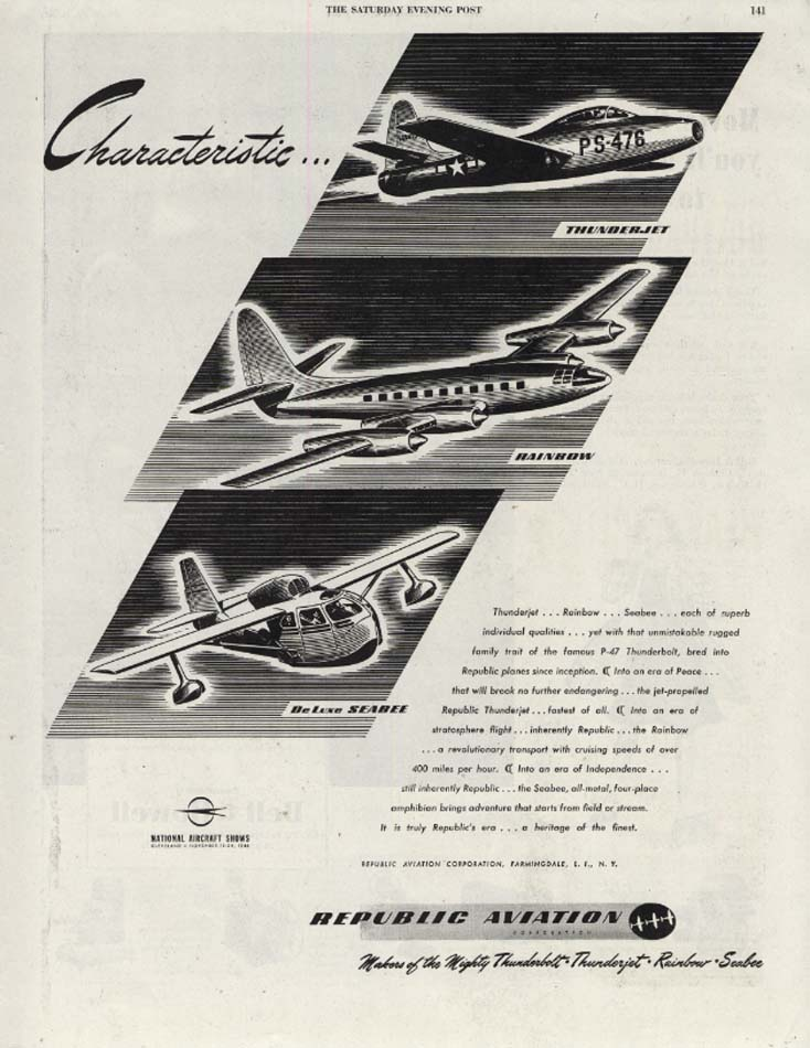 Image for Characteristic: Thunderjet Rainbow SeaBee by Republic Aviation ad 1946 SEP